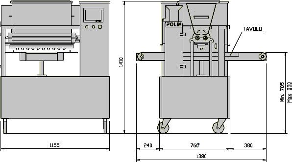 Габаритні розміри відсадочної машини POLIN Multidrop CLASSIC 4046/6066