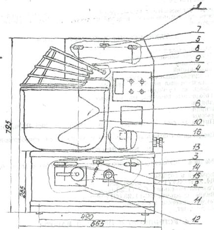 Устройство тестомесильной машины Л4-ХТИ-2