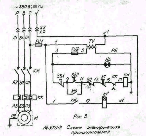 Схема электрическая принципиальная тестомеса Л4-ХТИ-2