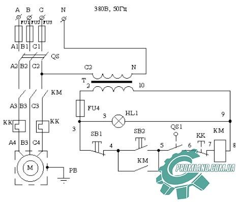 Электрическая схема просеивателя муки П2-П