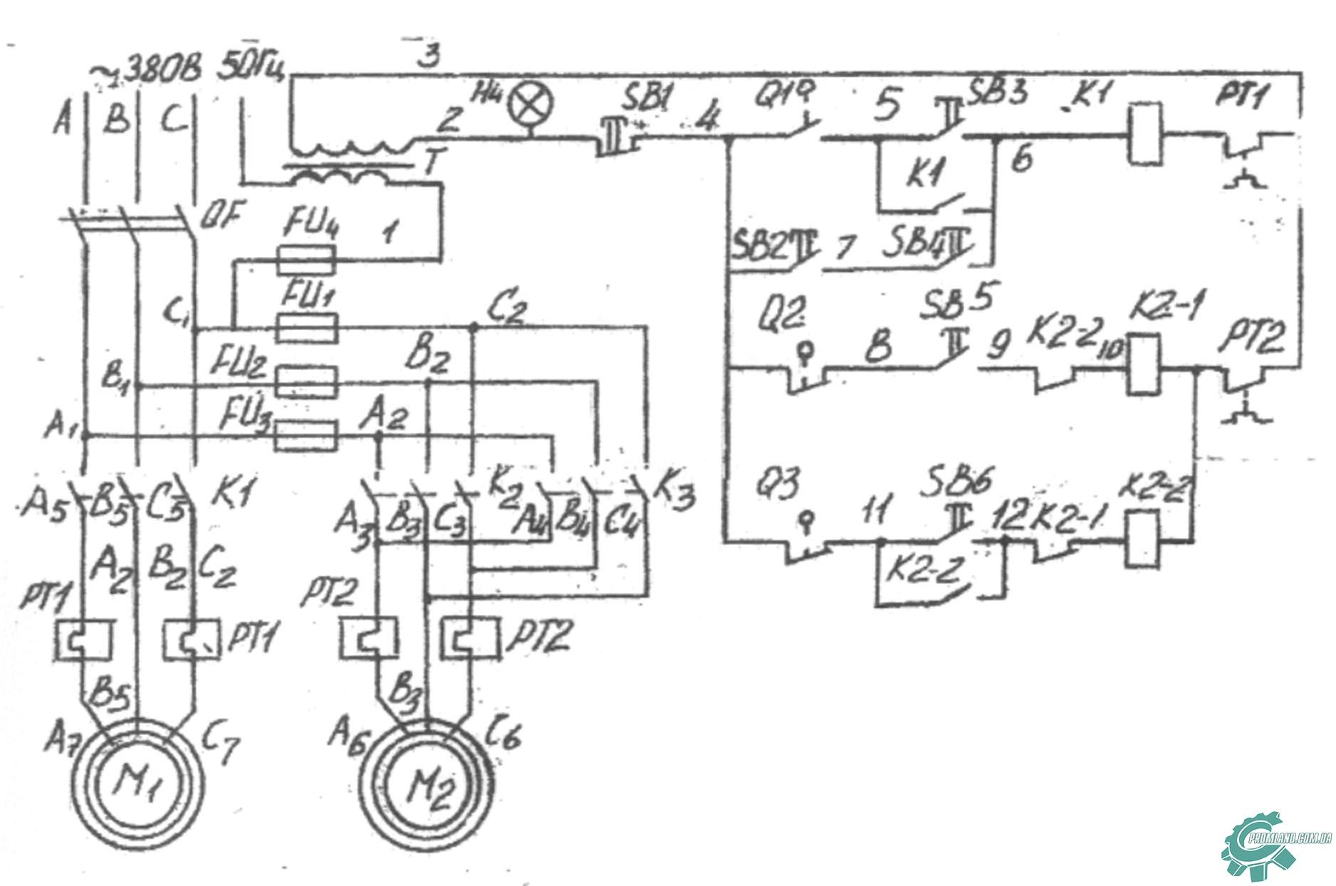 Электрическая схема тестомесильной машины ТМ-63